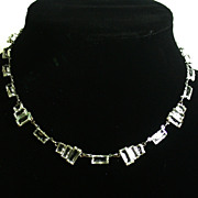 Art Deco Period Faceted Clear Glass Choker, 16""