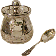 Vintage Silver Overlay Glass Jampot w/Sterling Sugar Spoon