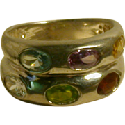 Vintage Sterling Ring w/Multi Colored Gemstones, Size 8