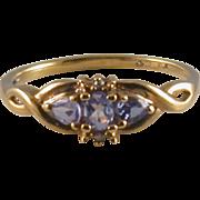 Tanzanite, Diamond & 10K Yellow Gold Lady's Ring, Size 7 ¼