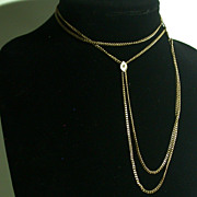 Vintage Gold-Filled Watch Chain w/14K Gold & Diamond Slide