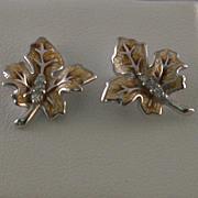 Sterling/Diamonds/Enamel Leaf Form Earrings, Nicole Barr