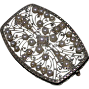 Estate 18K White Gold Filigree and Pearl Pin, C. 1925-30