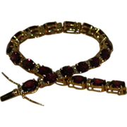 Estate Amethyst/Diamond 14K Gold Bracelet, 7 1/4""