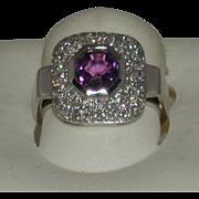 Amethyst/Diamond Ring, 18K White Gold, Size 6.75, Estate