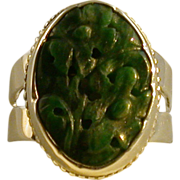 Hand Carved Jade And Sterling Silver Ring, Size 7