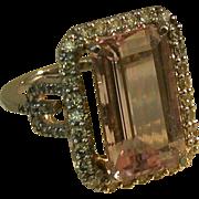 Morganite/Diamond/14K White Gold Lady's Ring, Sz. 7.5