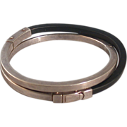 Modern Sterling Silver and Neoprene Hinged Crossover Bangle