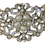 Siman Tu 7-strand FW Pearl:Crystal:Faux Moonstone Necklace, Signed
