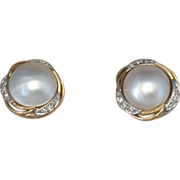 Mabe Pearl/Diamond/14K Yellow & White Gold Post Earrings