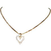 10K Gold Double Heart Pendant W/2 Diamonds/10K Box Chain