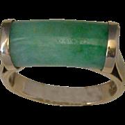 18K Gold/Jade Ring, Circa 1920's, Size 7 ¼