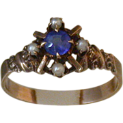 Antique Victorian Sapphire And Seed Pearl 14K Rose Gold Ring