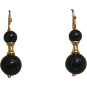 14K Yellow Gold And Black Onyx Dangle Earrings