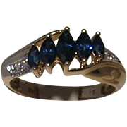 Sapphire and Diamond 14K Gold Ring, Marquise-Shaped Sapphires, Size 6 1/4