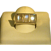 3-Moonstone Ring, Sterling Silver, Lady's Size 7.5, Vintage