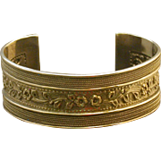 Sterling Silver Wide Open Cuff Bracelet, Repoussed, Engraved, etc.
