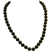 """Black Onyx Bead Necklace, Hand-tied, 20"""" Length"""