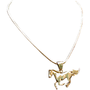 Sterling Running Horse Figural Pendant On 16-inch Snake Chain