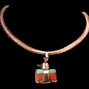 Southwest Style Thunderbird Pendant on 925 Chain, Multi Stone, Vintage