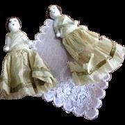 Antique Set of Twin Dressed Frozen Charlotte Dolls