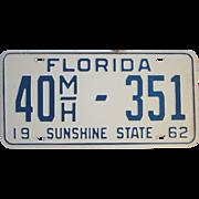 SOLD Vintage 1962 Florida License Plate