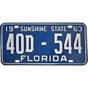 SOLD Old 1963 Florida Tag