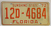 SOLD Old Florida License Plate, 1972 Tag
