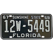 SOLD Florida License Plate 1967