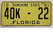 Florida License Plate,1961 Tag