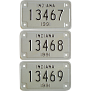 SALE Indiana Motorcycle Plates 3 from 1991