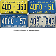 Old Florida License Plates 1961 1962