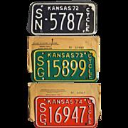 REDUCED Vintage Kansas Motorcycle License Plates 1972 1973 1974