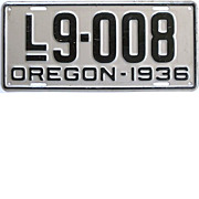 SALE Vintage Oregon License Plate 1936