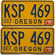 SOLD Old Oregon License Plates, Yellow and Blue, 1988