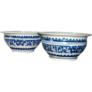 Companion Pair Antique 19th century Chinese Export Blue and White Porcelain Censer Bowls