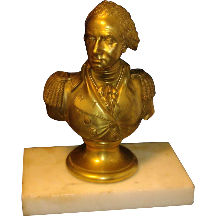 Antique 19th century French Gilt Bronze Bust of General George Washington