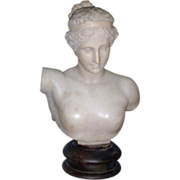 Fine and Rare Early 19th century Grand Tour Classical Carved Alabaster Bust of Hebe