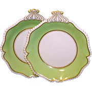Fine Pair Early 19th c. English Regency Flight & Barr Worcester Porcelain Dessert Dishes