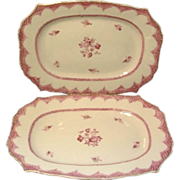 Pair 18th century Chinese Export Porcelain Famille Rose Platters