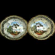 Fine Pair 18th century Bilston Battersea Enamel Reticulated Baskets
