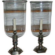 Large Pair Louis XVI Style Blown Glass Hurricane Lamps or Photophores for Candles