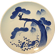 Antique Early 19th century Chinese Blue & White Porcelain Charger Plate