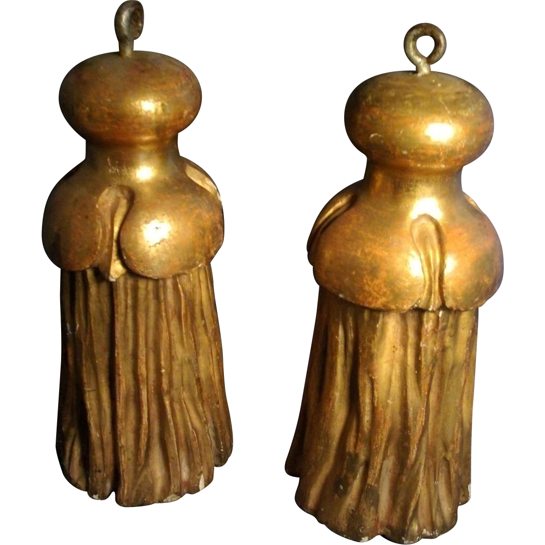 Pair of 19th c. Napoleon III Carved & Gilt Wood Drapery Tassels