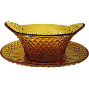 Antique 19th C. Amber Cut Glass Compote & Under Tray in the Georgian Taste
