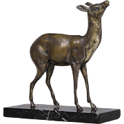 Antique Art Deco Bronze Statue of a Deer on Marble Base - 1920