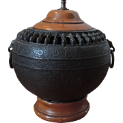 Antique 19th century Japanese Iron Urn Mounted as a Lamp