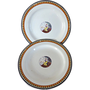 Pair Antique Early 19th century English Creamware Plates 1820