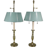 Pair 18th century French Directoire Candlesticks now Mounted as Bouiillotte Lamps with Tole Shades