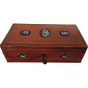 Rare 18th century Satinwood Box with neoclassical Wedgwood Jasperware Plaques in Bright Cut St